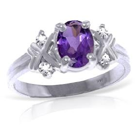 Genuine 0.97 ctw Amethyst & Diamond Ring Jewelry 14KT