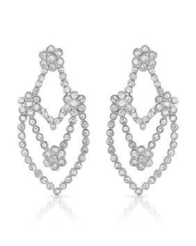 Genuine 2.09 TCW 14K White Gold Ladies Earring -