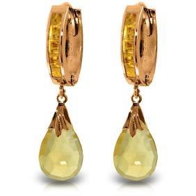 Genuine 6.85 ctw Citrine Earrings Jewelry 14KT Rose