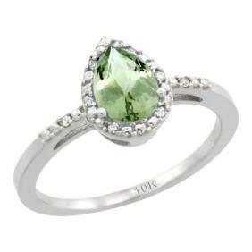 Natural 1.53 ctw green-amethyst & Diamond Engagement
