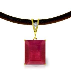 Genuine 7.51 ctw Ruby & Diamond Necklace Jewelry 14KT