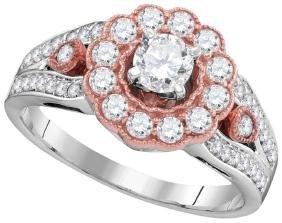 1 CTW Natural Diamond Rose-tone Bridal Engagement Ring