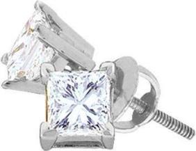 1.50 CTW Princess Natural Diamond I2 JK Solitaire Stud