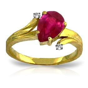 Genuine 1.51 ctw Ruby & Diamond Ring Jewelry 14KT