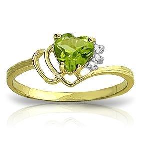 Genuine 0.97 ctw Peridot & Diamond Ring Jewelry 14KT