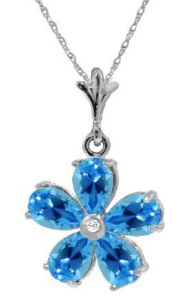 Genuine 2.22 ctw Blue Topaz & Diamond Necklace Jewelry