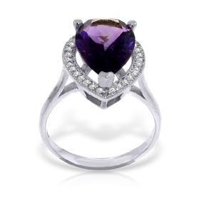 Genuine 3.41 ctw Amethyst & Diamond Ring Jewelry 14KT