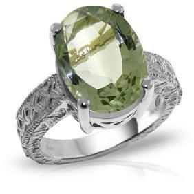 Genuine 7.5 ctw Green Amethyst Ring Jewelry 14KT White