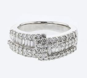 Baguette & Round Diamond Ring in 18K White Gold -