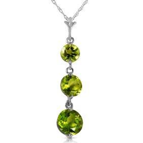 Genuine 3.6 ctw Peridot Necklace Jewelry 14KT White