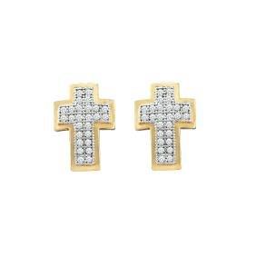 0.15 CTW Natural Diamond Christian Cross Faith Stud
