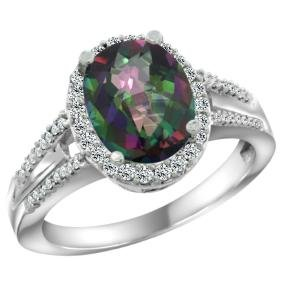 Natural 2.72 ctw mystic-topaz & Diamond Engagement Ring