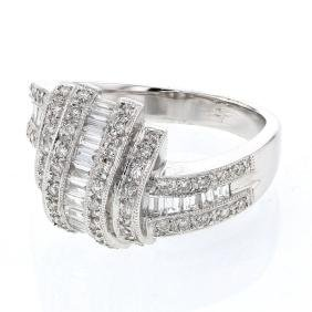 Baguette & Round Channel & Prong-set Diamond Ring in
