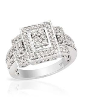 14K White Gold 0.65CTW Diamond Ring - REF-94H7W