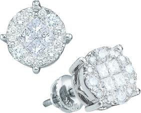 0.5 CTW Princess Diamond Cluster Screwback Stud Unisex
