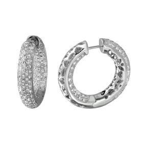 Genuine 2.87 TCW 18K White Gold Ladies Earrings -