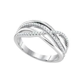 0.19 CTW Natural Diamond Crossover Woven Band 10K White