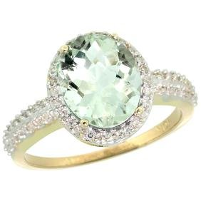 Natural 2.56 ctw Green-amethyst & Diamond Engagement