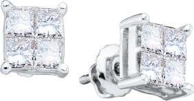 0.5 CTW Princess Natural Diamond Unisex Mens Screwback