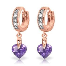 Genuine 1.77 ctw Amethyst & Diamond Earrings Jewelry