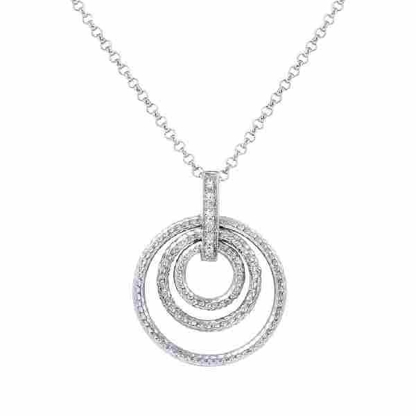 0.05 CTW 14K White Gold Ladies Slider with Chain -