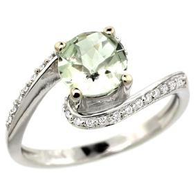 Natural 0.99 ctw green-amethyst & Diamond Engagement