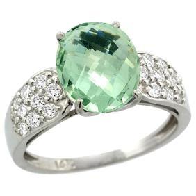 Natural 2.75 ctw green-amethyst & Diamond Engagement