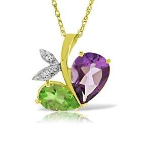 Genuine 4.06 ctw Amethyst, Peridot & Diamond Necklace
