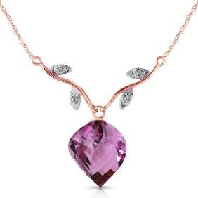 Genuine 10.77 ctw Amethyst & Diamond Necklace Jewelry