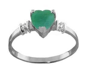 Genuine 1.03 ctw Emerald & Diamond Ring Jewelry 14KT