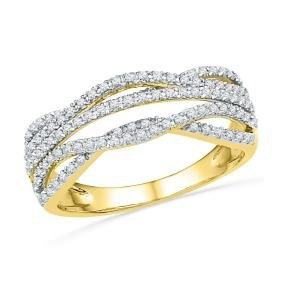 0.33 CTW Natural Diamond Woven Band 10K Yellow Gold