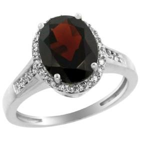 Natural 2.49 Ctw Garnet & Diamond Engagement Ring 10K