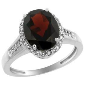 Natural 2.49 ctw Garnet & Diamond Engagement Ring 10K