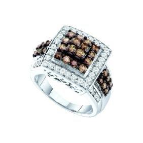 1.50 CTW Cognac-brown Colored Diamond Square Cluster