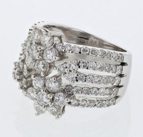 18K White Gold 2.61CTW Diamond Rings - REF-338H8W