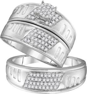 0.4 CTW His & Hers Natural Diamond Cluster Matching