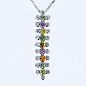 14K White Gold 1.69CTW Sapphire&Diamond Pendant w/