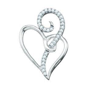 0.1 CTW Natural Diamond Heart Love Pendant 10K White