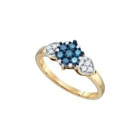 0.35 CTW Natural Diamond Flower Cluster Ring 10K Yellow