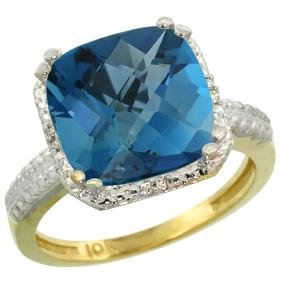 Natural 5.96 ctw London-blue-topaz & Diamond Engagement