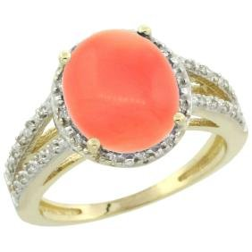 Natural 3.42 ctw Coral & Diamond Engagement Ring 10K