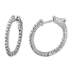 14K White Gold 0.99CTW Diamond Hoop Earring -