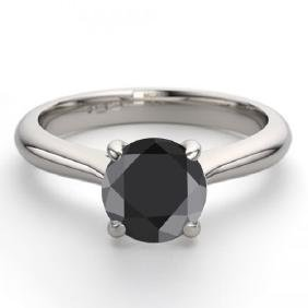 14K White Gold Jewelry 1.02 ctw Black Diamond Solitaire