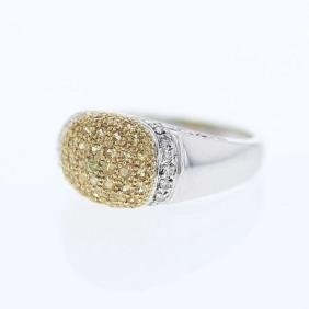 Pave-set Diamond Ring w/ Yellow Sapphire in 14K