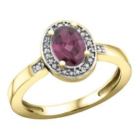 Natural 1.08 ctw Rhodolite & Diamond Engagement Ring