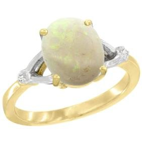 Natural 1.42 ctw Opal & Diamond Engagement Ring 14K