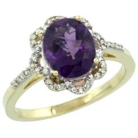 Natural 1.85 ctw Amethyst & Diamond Engagement Ring 14K