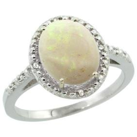 Natural 1.43 ctw Opal & Diamond Engagement Ring 10K