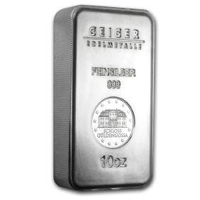 Genuine 10 oz 0.999 Fine Silver Bar - Geiger Security