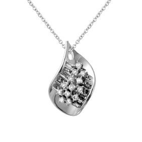 Genuine 0.3 TCW 14K White Gold Ladies Pendant -